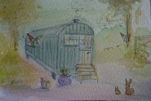 painting for my grandson's easter card 'The Egg Hunt'